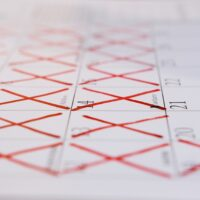 The crossed-out calendar. Self-isolation of the house in quarantine. Coronavirus and stay home.